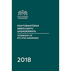 """Grāmatas """"Doktorantūras absolventu gadagrāmata 2018"""" vāks"""