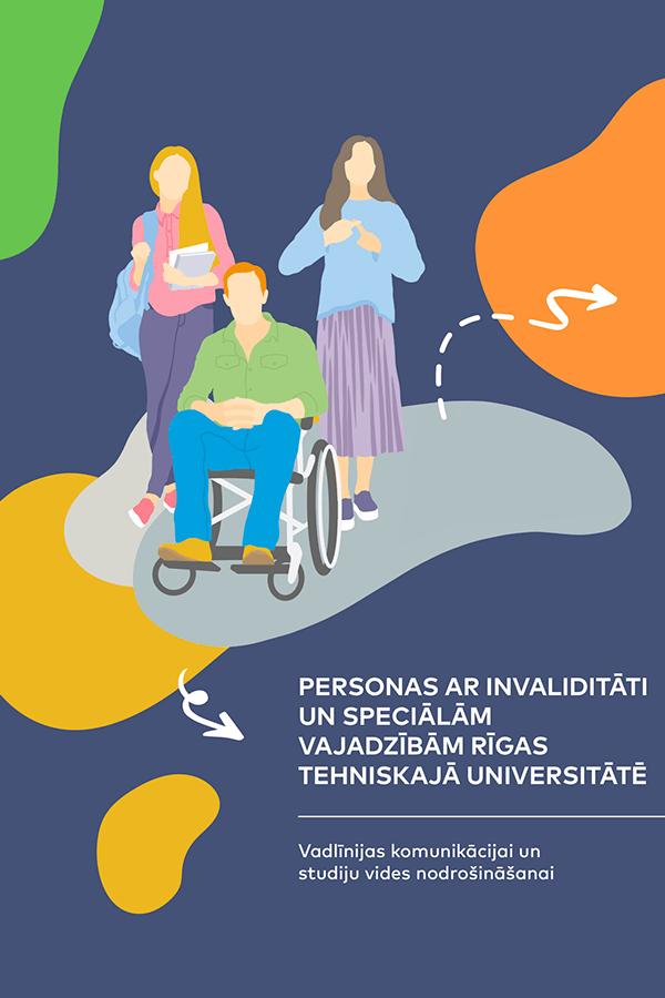 """Izdevuma """"Personas ar invaliditāti un speciālajām vajadzībām Rīgas Tehniskajā universitātē"""" vāks"""