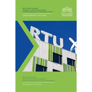 """Izdevuma """"RTU Industriālās elektronikas un elektrotehnikas institūta gadagrāmata 2017/2018"""" vāks"""